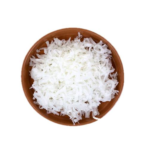 Coconut Shredded shredded coconut is coarsely flaked coconut flesh without the addition of oil or fat and not dried.