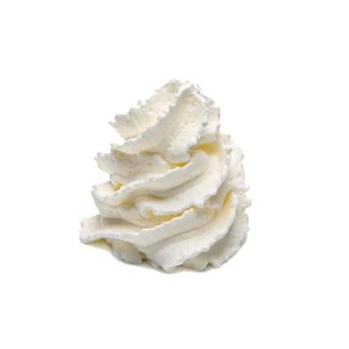 Cream Whipped cream whipped until stiff.