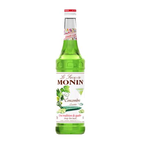 Cucumber Syrup Monin monin cucumber syrup with a light green color.