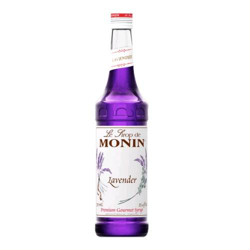 Lavender Syrup Monin monin lavender syrup made with lavender flavour sugar and water and cooked together with a bright purple color.