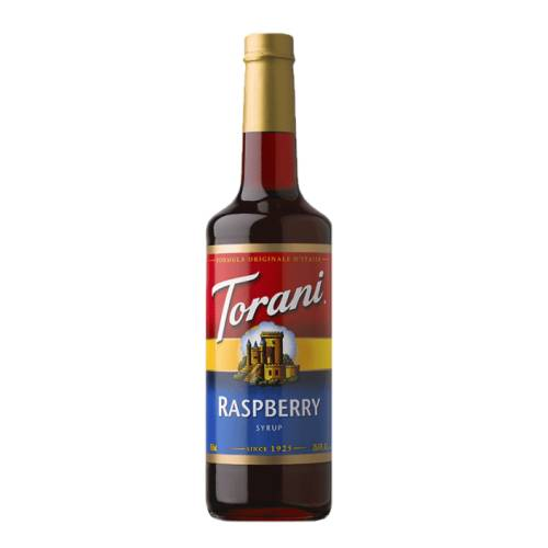 Raspberry Syrup Torani torani raspberry syrup made from sugar and sour raspberries.