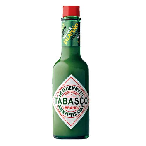Tabasco Green Pepper Sauce tabasco green pepper sauce with a green colour and strong in jalapeno chili spice and low scoville rating.