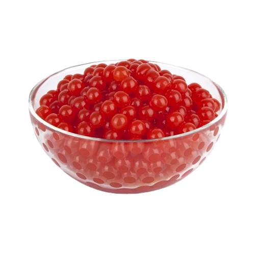 Tapioca Ball Cherry tapioca balls flavored with cherry in a bright red cherry color also called tapioca pearls or boba or bubble.